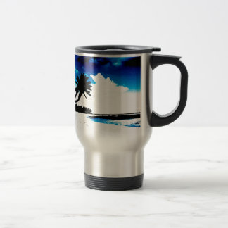 Blue Black White palm Tree Silhouette Stainless Steel Travel Mug