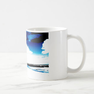 Blue Black White palm Tree Silhouette Coffee Mugs