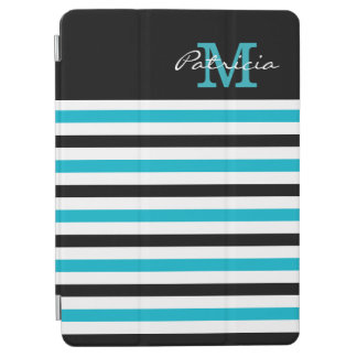 Blue Black White Stripes Custom Monogram iPad Air Cover
