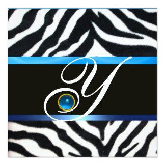 BLUE BLACK WHITE ZEBRA FUR MONOGRAM,Sapphire 13 Cm X 13 Cm Square Invitation Card