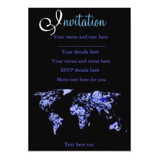 Blue black world map 13 cm x 18 cm invitation card