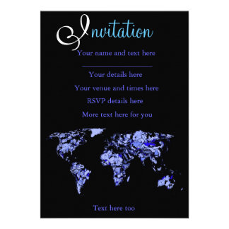 Blue black world map personalized announcements