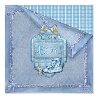 Blue Blanket Vintage Bootie Plaid Blue Brown Baby  Card