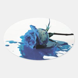 Blue Bleeding Rose Oval Sticker