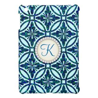Blue Bling Geometric Pattern Monogram iPad Mini Cover