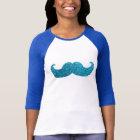 Blue Bling moustache  (Faux Glitter Graphic) T-Shirt