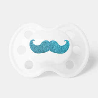 Blue Bling mustache  (Faux Glitter Graphic) Baby Pacifiers