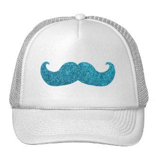 Blue Bling mustache  (Faux Glitter Graphic) Cap