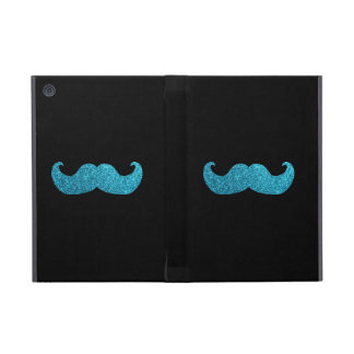 Blue Bling mustache  (Faux Glitter Graphic) Cover For iPad Mini
