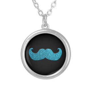 Blue Bling mustache Faux Glitter Graphic Jewelry