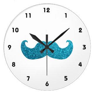 Blue Bling mustache  (Faux Glitter Graphic) Large Clock