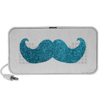 Blue Bling mustache  (Faux Glitter Graphic) Mini Speakers