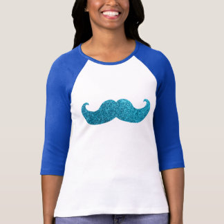 Blue Bling mustache  (Faux Glitter Graphic) T-Shirt