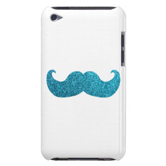 Blue Bling mustache  (Faux Glitter Graphic) white Barely There iPod Covers