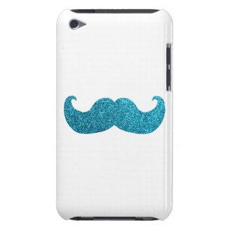 Blue Bling mustache  (Faux Glitter Graphic) white iPod Case-Mate Case
