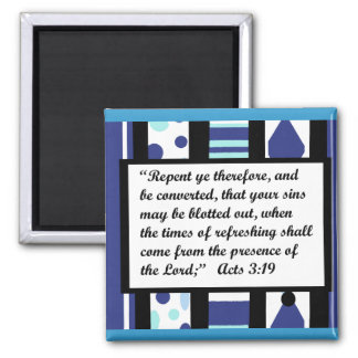Blue bliss frame, Acts 3:19 magnet