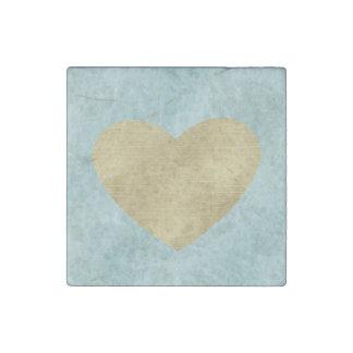 Blue Bliss Gold Heart Stone Magnet
