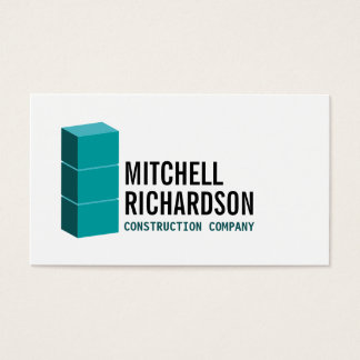 Blue Blocks Logo Construction Builder Contractor Business Card