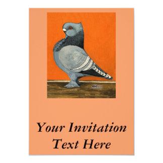 Blue Blondinette Pigeon 13 Cm X 18 Cm Invitation Card