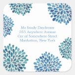 Blue Bloom Burst Address Wedding Seal Sticker