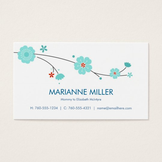 Blue Blossoms Calling Cards /