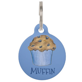 Blue Blueberry Muffin Personalized Dog Pet Tag