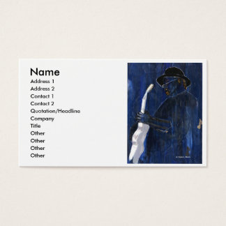 Blue Blues Guitar player painting acrylic Business Card