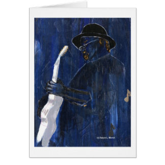 Blue Blues Guitar player painting acrylic Cards