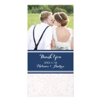 Blue Blush Damask Thank You Wedding Photo Cards