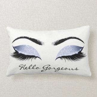 Blue Blush Glitter Makeup Lashes Hello Gorgeous Lumbar Cushion