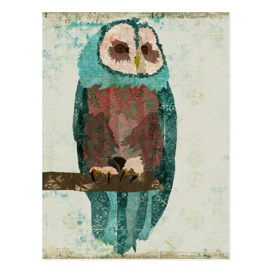 Blue Blush Owl Postcard