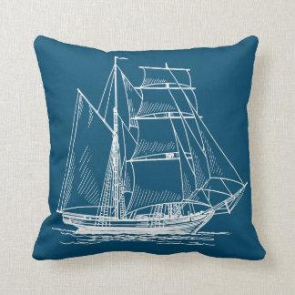 blue boat sailing ship pillow