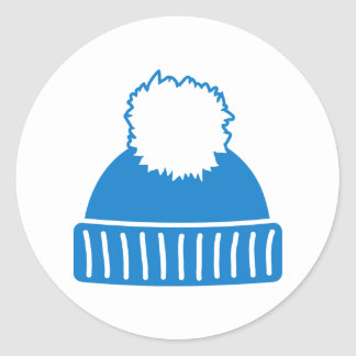 Blue bobble hat classic round sticker