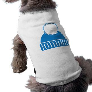 Blue bobble hat sleeveless dog shirt