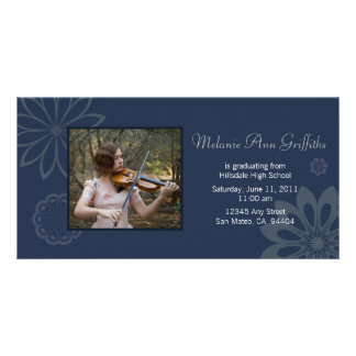 Blue Bohemian Graduation Announcement Photo Greeting Card