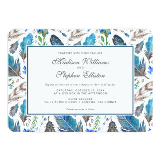 Blue Boho Aztec Watercolor - Wedding Card