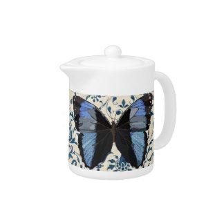 Blue Boho Butterfly  Teapot