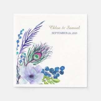 Blue Boho Floral Feather Wedding Paper Napkin