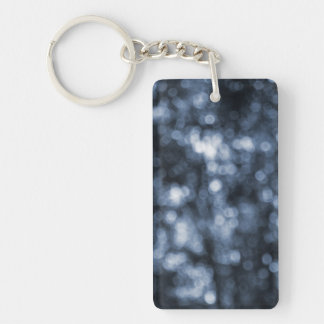 Blue Bokeh Double-Sided Rectangular Acrylic Key Ring