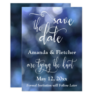Blue Bokeh Light & Typography 32, Save the Date Card
