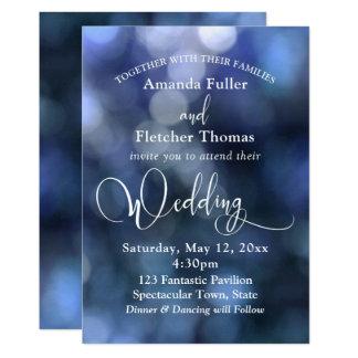 Blue Bokeh Light & Typography 32 Wedding 3 Card