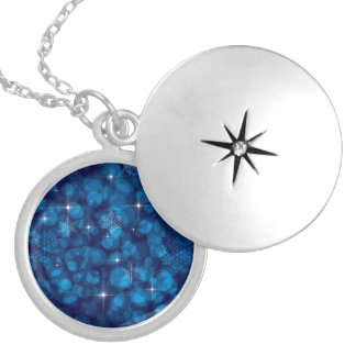 Blue Bokeh Lights and Snowflakes Pendant