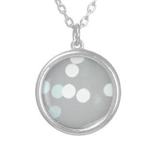 Blue Bokeh Lights Round Pendant Necklace