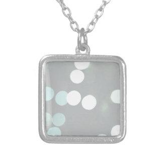 Blue Bokeh Lights Square Pendant Necklace