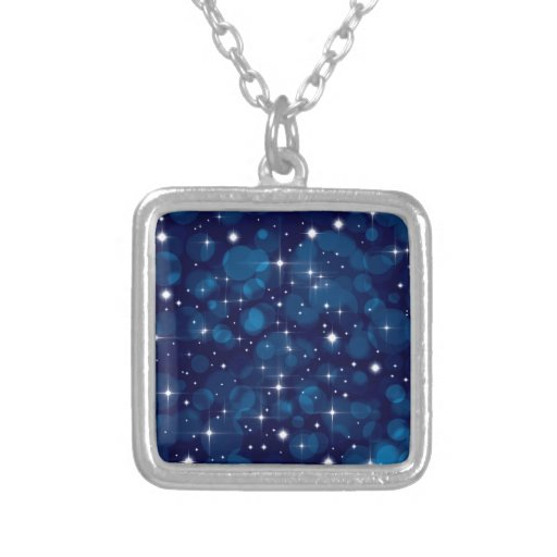 Blue Bokeh Lights with Sparkles Pendant