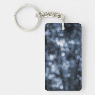 Blue Bokeh Rectangular Acrylic Key Chains