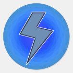 Blue Bolt Round Sticker