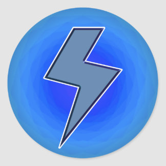 Blue Bolt Round Sticker
