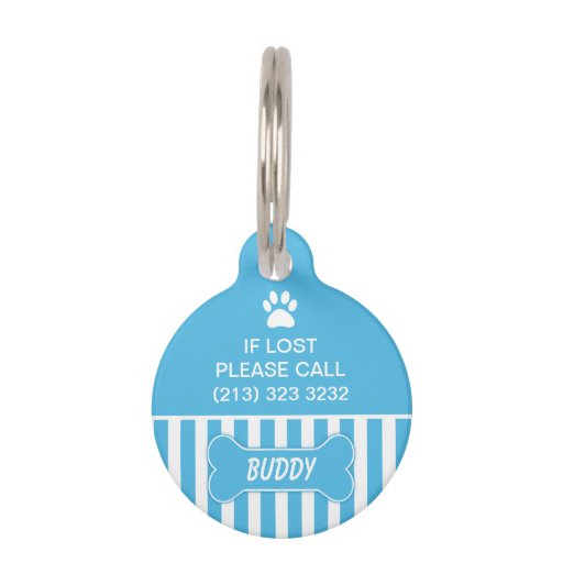 Blue Bone Dog ID Tag Pet Nametag