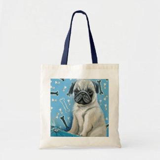 Blue Bone Pug Design Budget Tote Bag